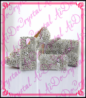 Aidocrystal New arrival crystal diamond jeweled silver wedding shoe and bag set / Mobile phone shell China supplier
