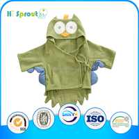 unique Sweet Green Owl Hooded Bathrobe for Babies