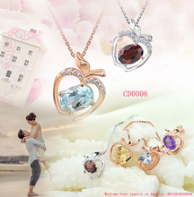 2015 fashion jewelry apple shaped crystal necklace pendant, wholesale lucite jewelry