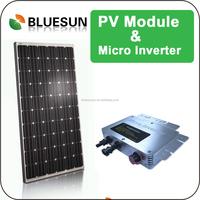 BlueSun mono crystalline and poly crystalline 250w solar panel with 250w 300w 600w 1200w micro MPPT inverter/converter