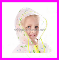 High quality kid clear raincoat and ponchos with school bag