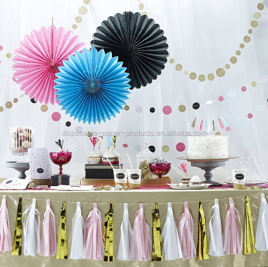 Wall Decorations For Engagement Party : Hanging tissue paper fans honeycomb balls party