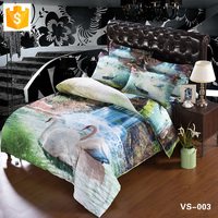 Wholesale bedding set Cotton cover Swans at the Waterfall Leopard 100% linen in bedding