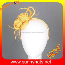 Newest 100% Sinamay Gold Flower Hair Accessories For Women Wholesale In Factory