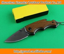 Wood handle X44 folding pocket knife mini knives with bottle opener 440C Blade 57HRC 4407