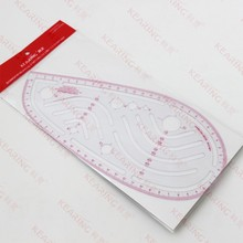 Kearing plastic metric armhole vogue grading ruler / 1.2mm thickness PVC vary form curves with holes metric scale # 6401