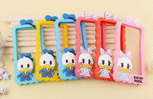 New Fashion 3D donald daisy duck silicon frame bumper for iPhone 5G 5 5S case soft Rubber lovely cartoon phone cases cover
