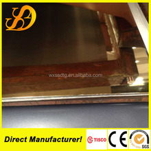 304 color stainless steel sheet rose/gold/silver/hairline PVC coated