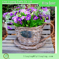 Factory wholesale round tea cup grey willow/wicker basket garden basket with handle for planting