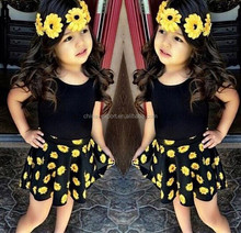 JPSKIRT1505425 2015 wholesale fashion summer hot sale new European black T-shirt+flower skirt girl hande work salwar suit 2 pcs