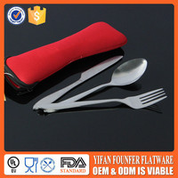 stainless steel travel cutlery set with pouch