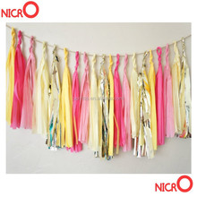 High quality tissue paper tassel garland /nursery /classroom /birthdays / party decorations