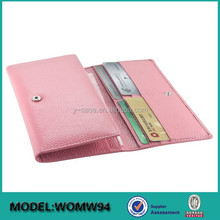 Long Style Slim PU or Genuine Leather Women Wallet With Change Purse