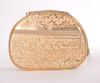 2015 Hot sale factory wholesale PU shiny golden fashion round cosmetic bag
