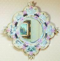 New Design Murano style crystal framed mirror, crystal beaded mirror, murano mirror wholesaler