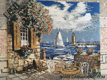 Seascape Art Stone Mosaic Mural for Interior Wall Decoration, Luxury Lifestyle, China Supplier ODM/OEM Support