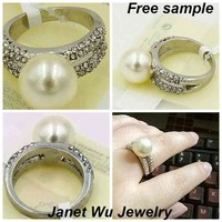 Free Shipping Express Free Sample Hottest Chinese Fashion Wedding Pearl Ring