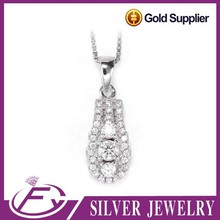 Personalized different typle cz stone sterling silver laser logo pendant