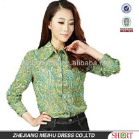new design for women printed chiffon slim fit women blouse