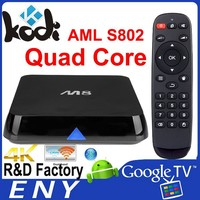 XBMC AML S802 Android Quad Core TV Box with 2.4GHz/ 5GHz 802.11 b/g/n Dual Band Wi-Fi