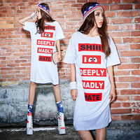 Popular Knee Length Cotton Print Evening t shirt young women dress