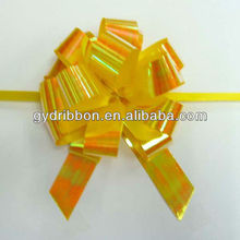 The newest popular yellow iridescent ribbon pull bow ,curling hair bow for gift or holiday decoration