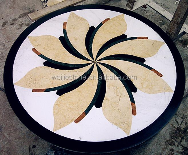 Marble Floor Inlay Designs : Modern marble waterjet flooring design round shape
