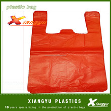 HDPE Plastic Red t-shirt vest carry bag