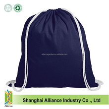 China blue recreational activities promotional cotton drawstring backpack bag