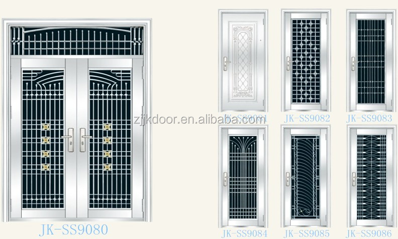Jk ss9036 stainless steel grill door design luxury metal for Exterior window grill design