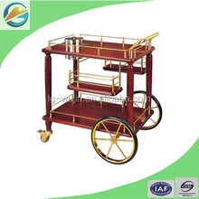 Hotel Wooden Wine Trolley/Liquor Service Cart/Food Trolley