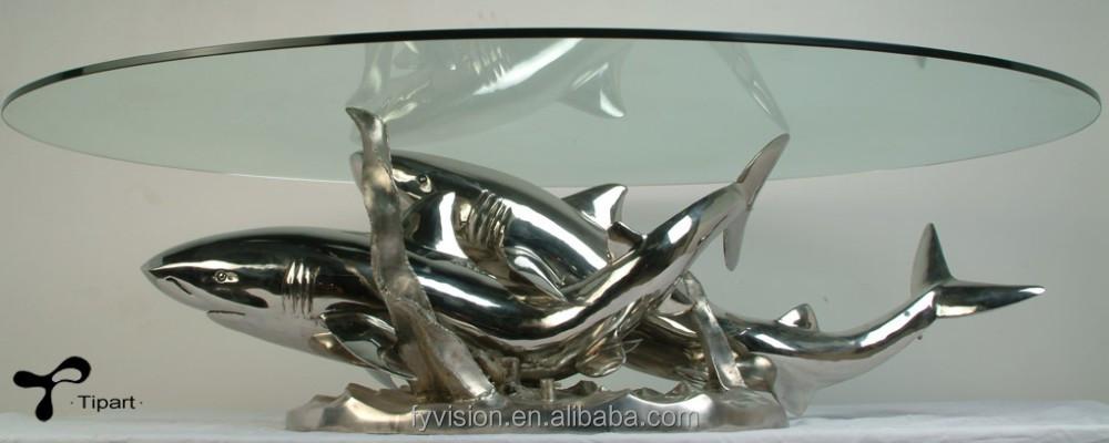 Moderne fisch shpe glasplatte untergestell aus edelstahl