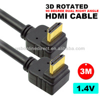 3M 10FT 10FEET 90 Degree HDMI Cable V1.4 V1.3 2.0 with ethernet support 3D & 1080p FOR HDTV,blue ray, PS3