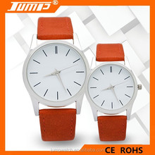 ShenZhen factory competitive price slim alloy dial simple leather strap quartz watch for couples