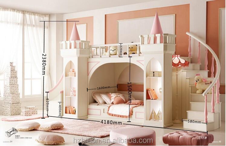 2015 enfants chambre meubles lit superpos lit de princesse avec des escalier - Lit superpose princesse ...