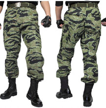 Fashion mens tiger stripe camo slim fit military tactical camouflage hunting trousers