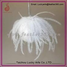 Taizhou lucky arts 2015 christmas tree hanging white feather balls