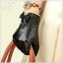 Gants en cuir pas cher, gants en cuir noir des femmes, gant de cuir en peau de mouton