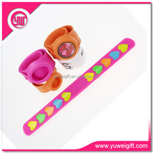 Silicone Slap Bracelet with custom logo/rubber slap band /debossed wide slap bracelet