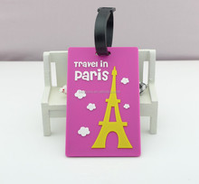 travel in pairs 3D Eiffel Tower luggage tag, travel suitcase bag name card holder