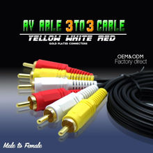 factory price 5m Audio/Video Cable Male to Male 3 RCA to RCA Cable