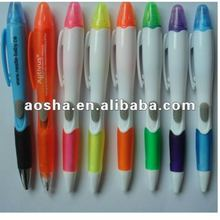 New promotional plastic ball pen with highlighter