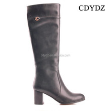 CDYDZ R1337-F7968 Thick high-heeled leather sexy knee high fashion side zipper long flat boots Women
