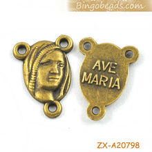 Antique Bronze The Virgin Mary Head Portrait With Three Holes Charms