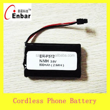 China factory cordless phone battery 3.6v AAA 800mAh nimh battery pack ER-P512 Battery