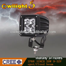 2012 new 3 inch 20w square led trailer tail lights led work lights for excavating machine/ ship/boats