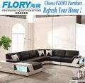sofá de canto de couro com luz LED F621