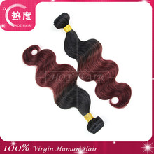Hot Hair Natural looks two tone hair grade 7A virgin human hair body wave indian shedding and tangle free
