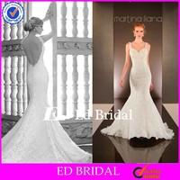 MG39 Romance White Sweetheart Spaghetti Straps Sexy Backless Slim Fit Fish Style Wedding Dress