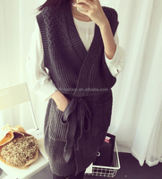 trendy design sleeveless belted cable knitted ladies sleeveless long cardigan